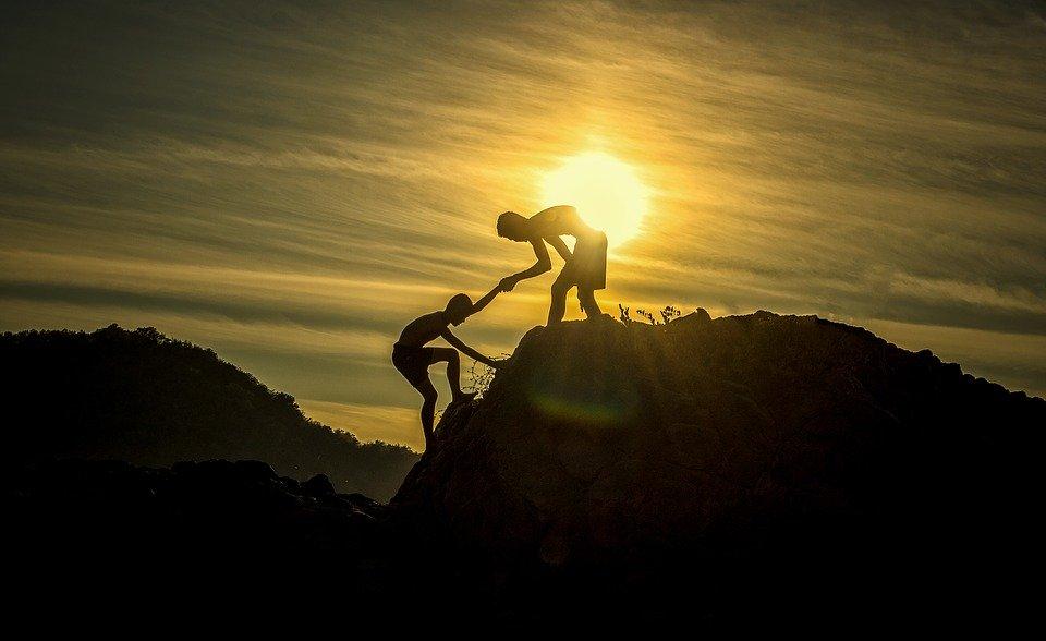 冒险, 高度, 攀登, 山, 高峰, 首脑会议, 帮助, 团队合作, 支持, 援助, 男孩, 挑战, 悬崖
